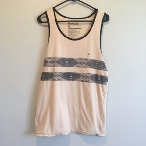 Hurley Cream Tank Top with Printed Stripes